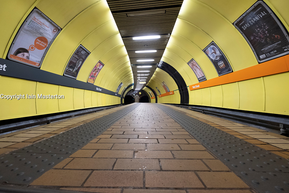 View of platform inside station on the Glasgow Subway system in Glasgow, Scotland UK