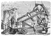 Giant burning glass of the Academie des Sciences, used for chemical experiments, and constructed under the direction of Lavoisier (1743-1794) and others. From Amedee Guillemin 'Les Applications de la Physique', Paris 1874. Engraving