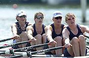 Henley. England. Women's henly Regatta<br /> Photo Peter Spurrier.<br /> Card No. 6/29<br /> <br /> Upper Thames RC, with Olympic Silver Medallist Mirriam Batten in the Bow seat (L)win the final of the open quad event. with right to left Libby Hensilwood, Ali Gill, (Canadian) Kirsten Barnes  and Miriam Batten. 20010623 Women's Henley Regatta.