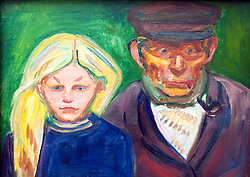 Old Fisherman with Daughter by Edvard Munch at Stadel art museum or Stadelsches Kunstinstitut in Frankfurt Germany