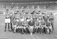 SIR MATT BUSBY WITH THE 1968 MANCHESTER UNITED EUROPEAN CUP Winning Squad / team .Back row : L to R. Bill Foulkes,John Aston,Jimmy Rimmer,Alex Stepney,Alan Gowling,David Herd. Middle Row : David Sadler,Freddie Owen (Ass Secretary),Tony Dunne,Shay Brennan,Paddy Crerand,George Best,Francis Burns,Joe Armstrong (Chief scout),Jack Crompton (trainer). Front row : Jim Ryan,Nobby Stiles,Denis Law,Sir Matt Busby (Manager) with the European Cup trophy,Bobby Charlton,Brian Kidd,John Fitzpatrick. Credit : Colorsport