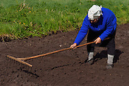 Subsistance farming lady, Musteika Village, on the border of the Cepkeliai reserve and the Dzukija National Park, Lithuania, EU