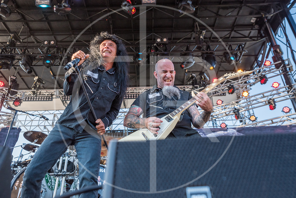 BALTIMORE United States - September 19, 2015: Scott Ian and Joey Belladonna of Anthrax, perform at The Shindig, in Baltimore's historic Carroll Park