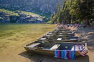 Boats on beach at Angora Lakes, Eldorado National Forest, near South Lake Tahoe, California