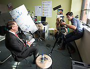 Houston ISD superintendent Dr. Terry Grier , left, prepares for an interview during a Broad Foundation research team tour Ortiz Middle School, May 29, 2013.