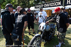 San Diego Customs' Mikey Van Senus asks a question to the group of Harley-Davidson BF11 Softail project builders at the Born-Free Vintage Motorcycle show at Oak Canyon Ranch, Silverado, CA, USA. Sunday, June 23, 2019. Photography ©2019 Michael Lichter.