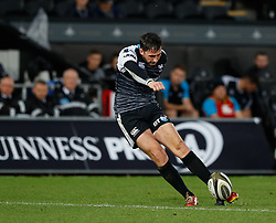 Sam Davies of Ospreys attempts a conversion<br /> <br /> Photographer Simon King/Replay Images<br /> <br /> Guinness PRO14 Round 2 - Ospreys v Cheetahs - Saturday 8th September 2018 - Liberty Stadium - Swansea<br /> <br /> World Copyright © Replay Images . All rights reserved. info@replayimages.co.uk - http://replayimages.co.uk