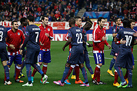 Olympiacos´s players before Champions League soccer match between Atletico de Madrid and Olympiacos at Vicente Calderon stadium in Madrid, Spain. November 26, 2014. (ALTERPHOTOS/Victor Blanco)