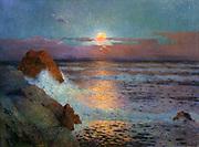 Sunset Over the Sea', c1925. Oil on canvas. Ferdinand du Puigaudeau (1864-1930) French painter.  Seascape Rock Breaker Wave Cloud Blue Purple Orange