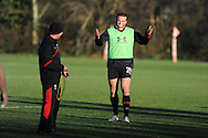 Jamie Roberts smiles during training. Wales rugby team training at the Vale, Hensol, near Cardiff on Thursday 29th November 2012. the team are preparing for their final Autumn international match against Australia this Saturday. pic by Andrew Orchard, Andrew Orchard sports photography,