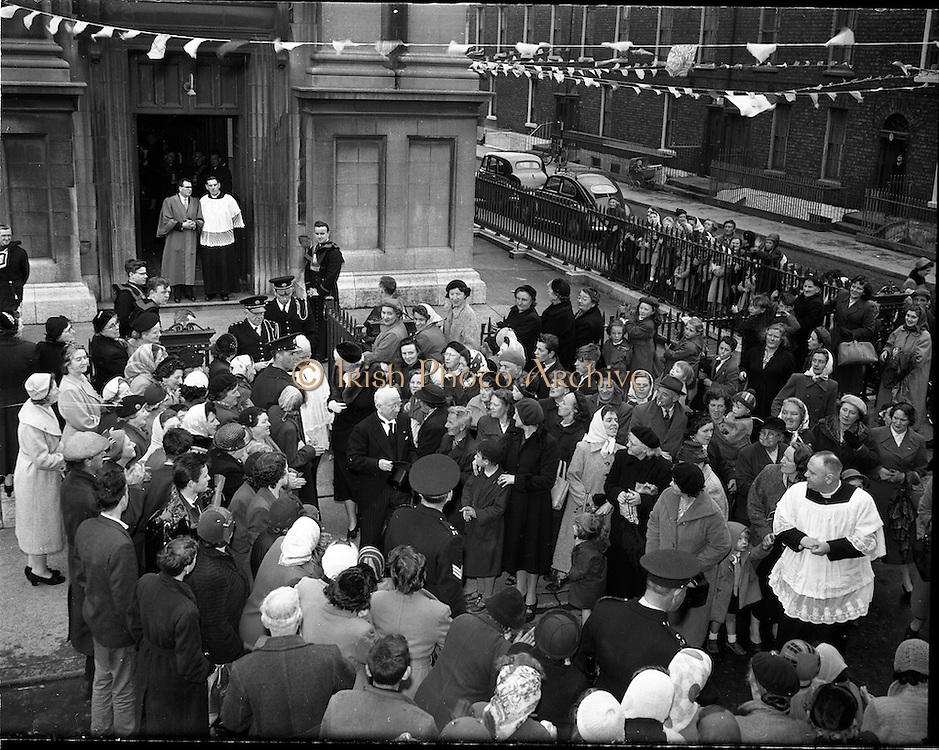 14/05/1957<br /> 05/14/1957<br /> 14 May 1957<br /> St Agatha's Daughters of Charity convent in North William Street, commemorating their centenary, Dublin. President Sean T. O'Kelly Leaving St. Agatha's church.