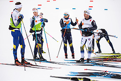 February 22, 2019 - Seefeld In Tirol, AUSTRIA - 190222 Teodor Peterson, Jens Burman and Ida Ingemarsdotter of Sweden together with coaching staff at a cross-country skiing training session during the FIS Nordic World Ski Championships on February 22, 2019 in Seefeld in Tirol..Photo: Joel Marklund / BILDBYRN / kod JM / 87881 (Credit Image: © Joel Marklund/Bildbyran via ZUMA Press)