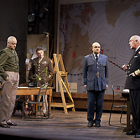 """The Lyceum present the World Premiere of Pressure<br /> By David Haig<br /> <br /> Picture shows :(l-r)<br />  Anthony Bowers, Malcolm Sinclair ( General Dwight D """"Ike"""" Eisenhower),  Gilly Gilchrist  David Haig ( Stagg), Michael Mackenzie.<br /> <br /> <br /> Picture : Drew Farrell<br /> Tel : 07721 -735041<br /> www.drewfarrell.com<br /> Directed by John Dove<br /> A co-production with Chichester Festival Theatre<br /> June 1944. One man's decision is about to change the course of history.<br /> <br /> Cast<br /> David Haig – Group Captain Dr. James StaggLaura Rogers – Kay SummersbyRobert Jack – AndrewAnthony Bowers – Lieutenant Battersby/ Captain JohnsScott Gilmour – Young Naval RatingMalcolm Sinclair – General Dwight D """"Ike"""" EisenhowerTim Beckmann – Colonel Irving P. KrickMichael Mackenzie – Electrician/Admiral Bertram """"Bertie"""" RamsayAlister Cameron – Air Chief Marshall Sir Trafford Leigh-MalloryGilly Gilchrist – General """"Tooey"""" Spaatz/Commander Franklin<br /> Creative Team<br /> Director - John DoveDesigner - Colin RichmondLX Designer - Tim MitchellDeputy LX Designer - Guy JonesComposer/Sound Design - Philip PinskyVideo Designer - Andrzej Goulding<br /> An intense real-life thriller centred around the most important weather forecast in the history of warfare.Scottish meteorologist, Group Captain James Stagg, the son of a Dalkeith plumber, must advise General Eisenhower on when to give the order to send thousands of waiting troops across the Channel in Operation Overlord.In what became the most volatile period in the British Isles for over 100 years, the future of Britain, Europe and our relationship with the United States, rested on the shoulders of one reluctant Scotsman.<br /> Pressure is the extraordinary and little known story of a Scot who changed the course of war, and our lives, forever.David Haig is a four time nominee and Olivier Award winning actor best known for his roles in the film Four Weddings and a Funeral , TV series The Thin Blue Line and stage"""