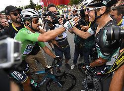 July 20, 2018 - Valence, France - VALENCE, FRANCE - JULY 20 : SAGAN Peter (SVK) of Bora - Hansgrohe & BURGHARDT Marcus (GER) of Bora - Hansgrohe during stage 13 of the 105th edition of the 2018 Tour de France cycling race, a stage of 169.5 kms between Bourg d'Oisans and Valence on July 20, 2018 in Valence, France, 20/07/2018 (Credit Image: © Panoramic via ZUMA Press)
