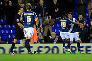 Kyle Lafferty of Birmingham City (R) celebrates scoring their first goal with team-mates.<br /> Sky Bet Football League Championship match, Birmingham City v Brighton & Hove Albion at St.Andrew's Stadium in Birmingham, the Midlands on Tuesday 5th April 2016.<br /> Pic by Ian Smith, Andrew Orchard Sports Photography.