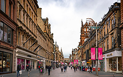 Glasgow, Scotland, UK. 26 October 2020. View of Glasgow city centre on weekday during circuit breaker lockdown with bars and restaurants closed. Pictured; View along Buchanan Street pedestrian shopping street . Iain Masterton/Alamy Live News
