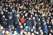 The AFC Wimbledon fans during the EFL Sky Bet League 1 match between Oxford United and AFC Wimbledon at the Kassam Stadium, Oxford, England on 13 April 2019.