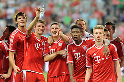01.08.2013, Allianz Arena, Muenchen, Audi Cup 2013, FC Bayern Muenchen vs Manchester City, im Bild, v.l.n.r.: Daniel VAN BUYTEN (FC Bayern Muenchen), Thomas MUELLER (FC Bayern Muenchen), Bastian SCHWEINSTEIGER (FC Bayern Muenchen), David ALABA (FC Bayern Muenchen) und Mitchell WEISER (FC Bayern Muenchen) // during the Audi Cup 2013 match between FC Bayern Muenchen and Manchester City at the Allianz Arena, Munich, Germany on 2013/08/01. EXPA Pictures © 2013, PhotoCredit: EXPA/ Eibner/ Wolfgang Stuetzle<br /> <br /> ***** ATTENTION - OUT OF GER *****