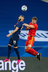 NICE, FRANCE - Wednesday, June 2, 2021: France's Karim Benzema (L) challenges for a header with Wales' Chris Mepham during an international friendly match between France and Wales at the Stade Allianz Riviera ahead of the UEFA Euro 2020 tournament. (Pic by Simone Arveda/Propaganda)