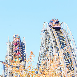 Hershey, PA, USA - September 20, 2015: The Lightning Racer is a double-track wooden roller coaster in Hersheypark in Hershey, PA.