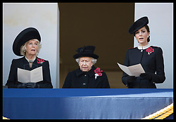 November 11, 2018 - London, London, United Kingdom - Image licensed to i-Images Picture Agency. 11/11/2018. London, United Kingdom. The Queen , Duchess of Cornwall and Duchess of Cambridge   at the Remembrance Sunday service at The Cenotaph in London on  the Centenary of the end of the First World War. (Credit Image: © Stephen Lock/i-Images via ZUMA Press)