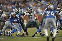 DETROIT - SEPTEMBER 19: Guard Mike McGlynn #77 of the Philadelphia Eagles blocks during the game against the Detroit Lions on September 19, 2010 at Ford Field in Detroit, Michigan. (Photo by Drew Hallowell/Getty Images)  *** Local Caption *** Mike McGlynn