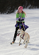 """Alaska. Young girl trying ski-jorring for the first time during the """"Ski for Kids"""" fund raiser at Kincaid Park, Anchorage."""