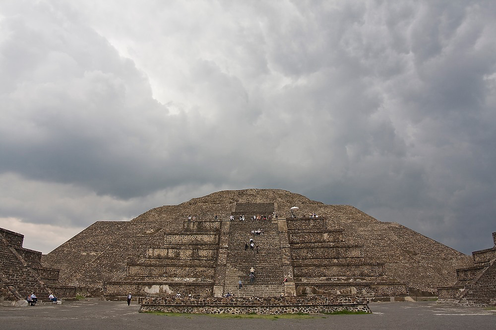 Storm clouds gather over the Pyramid of the Moon, or Piramide de la Luna, in the pre-columbian archeological site of Teotihuacan, Mexico state, Mexico.
