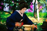 Geisha performing tea ceremony, Nishijin Yumematsuri (Festival), Kitano-Tenmangu Shrine, Kyoto, Japan