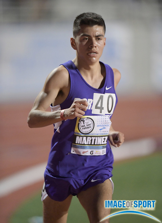 Apr 13, 2017; Torrance, CA, USA; Danny Martinez (2848) of Portland places 16th in the invitational 10,000m in 29:20.88 during the 58th Mt. San Antonio College Relays at El Camino College.