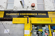 After the riots of London and other UK cities, Sri Lankan-born Sivaharan (Siva) Kandiah's looted shop 'Clarence Convenience Store' in Clarence Road, Hackney.