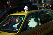 Taxi cabs in central Tokyo. Japan.