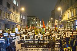 26.01.2018, AUT, Demonstration gegen den Akademikerball in Wien, im Bild Demonstranten mit Plakaten// during protest against the 'Akademiker Ball' of the FPOE - Freedom Party Austria, in Vienna, Austria on 2018/01/26. EXPA Pictures © 2017, PhotoCredit: EXPA/ Florian Schroetter