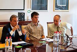 Marko Pogacnik, Janez Sodrznik in Slavko Kanalec na skupscini Hokejske zveze Slovenije, on September 7, 2011, in Ljubljana, Slovenia. (Photo by Matic Klansek Velej / Sportida)