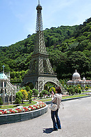 Eiffel Tower Replica at Tobu World Square - a theme park near Nikko and Kinugawa Onsen. The theme park boasts 42 exquisitely crafted scale models of famous UNESCO  Heritage Sites, complete  with 140,000 miniature people.  Along with the World Heritage Sites, more mundane buildings are Tokyo Station, Narita Airport and Tokyo Dome, along with show pavilions for various hokey performances.
