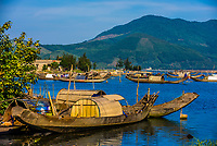 Fish farms, in countryside outside Hue, Central Vietnam.