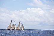 Charm III and When and If sailing in the Windward Race at the Antigua Classic Yacht Regatta.