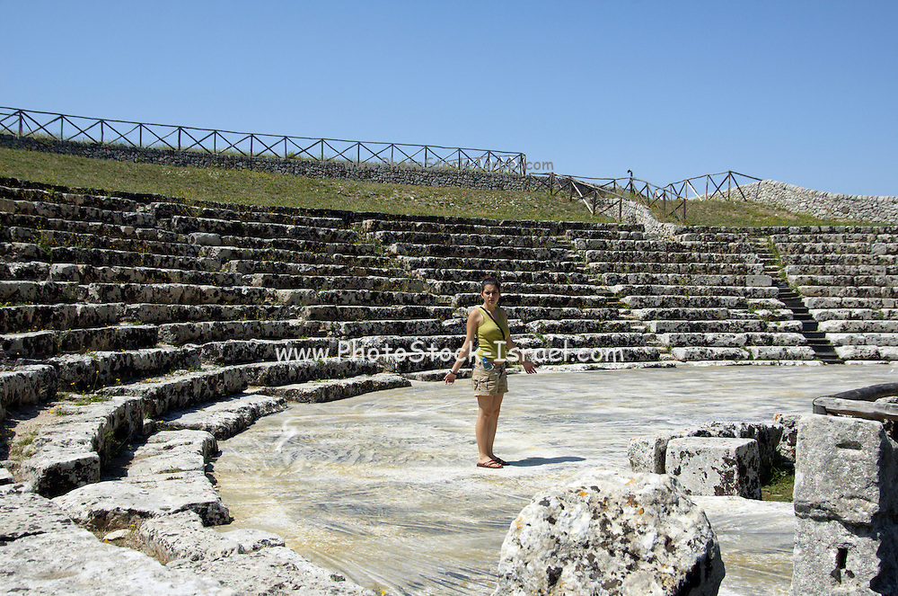 the remains of the Greek theatre at Arkai, 3rd century BC, Palazzolo Acreide, on the Monti Iblei, Province of Syracuse, Sicily, Italy, July 2006. MR