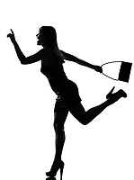 stylish silhouette caucasian beautiful woman running hailing hurrying full length on studio isolated white background