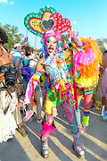 A Pride Fest parade goer poses for a photo during The Bonnaroo Music and Arts Festival in Manchester, TN