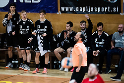during handball match between RD Urbanscape Loka and RK Gorenje Velenje in 1. NLB league 2020/21, on 5 November, 2020 in Sport hall Poden, Skofja Loka, Slovenia. Photo by Grega Valancic / Sportida
