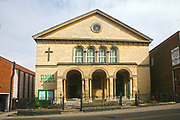Exterior of the Grade II listed Fuller Baptist Church in Gold Street, Kettering, Northamptonshire, UK.<br /> A church has been on this site since 1696 and the current building is named in memory of Rev'd Andrew Fuller a founder of the Baptist Missionary Society, formed in Kettering in the late 1700's