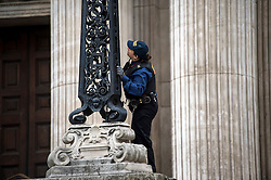 © Licensed to London News Pictures. 07/07/2015. London, UK. Security checks being carried out before the service. A church service held at St Paul's Cathedral In London on the 10th anniversary of the 7/7 bombings in London which killed 52 civilians and injured over 700 more.  Photo credit: Ben Cawthra/LNP
