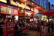 Sex shops and bars on the Reeperbahn and St Pauli, Hamburg, Germany.