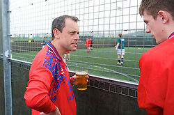 CARDIFF, WALES - Wednesday, April 1, 2009: Wales' football supporters competing in a fans tournament at the Gol Centre. (Pic by David Rawcliffe/Propaganda)