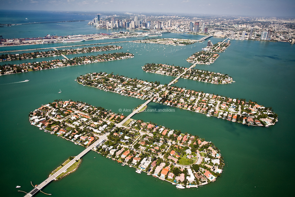 Built in the 1920s, long before sea-level rise was a global concern, the Venetian Islands are a set of artificial islands made from dredging in Biscayne Bay.