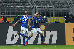DORTMUND, Nov. 26, 2017  Guido Burgstaller (R) of FC Schalke 04 celebrates after scoring with his teammate Naldo during the German Bundesliga match between Borussia Dortmund and FC Schalke 04 in Dortmund, Germany, Nov. 25, 2017. The match ended 4-4. (Credit Image: © Joachim Bywaletz/Xinhua via ZUMA Wire)