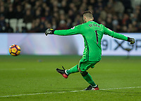 Football - 2016 / 2017 Premier League - West Ham United vs. Manchester United<br /> <br /> David De Gea of Manchester United clears the ball at The London Stadium.<br /> <br /> COLORSPORT/DANIEL BEARHAM