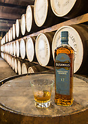 Bushmills whisky produced at a distillery in Bushmills, County Antrim, Northern Ireland, U.K.