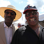 Michael and Leon Spinks pose during the 2013 International Boxing Hall of Fame induction ceremony  on Sunday, June 9, 2013 in Canastota, New York.  (AP Photo/Alex Menendez)
